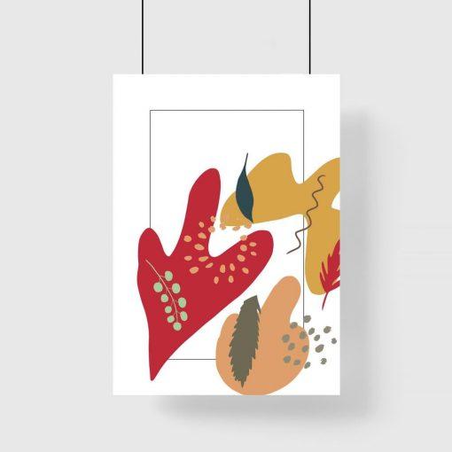 Plakat z abstrakcją w ciepłych barwach