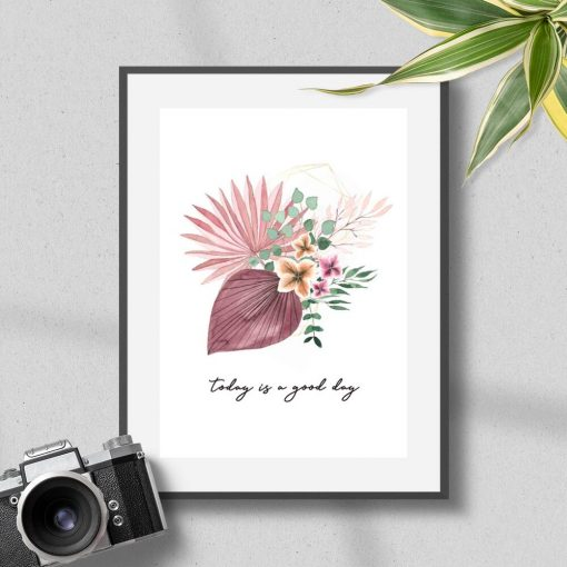 Plakat z motywem roślin i napisami