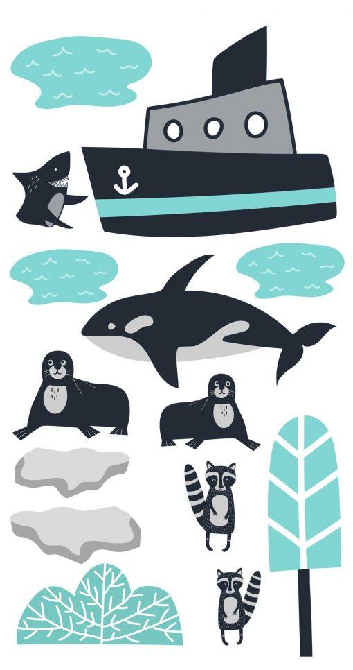 Zestaw naklejek dla dzieci - Orka i statek