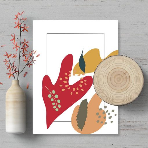 Plakat do biura z abstrakcją i liśćmi