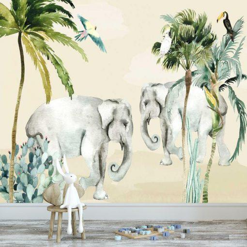 pokój niemowlaka dekorowany kolorową fototapeta ze słoniem
