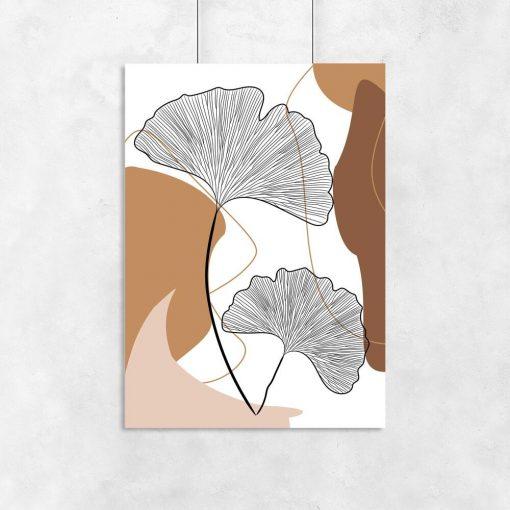 Plakat do oprawienia liście miłorzębu