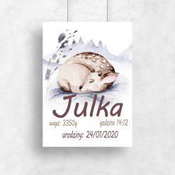 dedykowany plakat z jelonkiem do pokoju dziecięcego