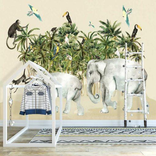 egzotyczne palmy i słonie na fototapecie dla przedszkolaka