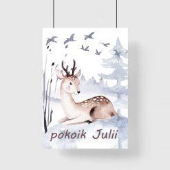 plakat z typografią i jeleniem