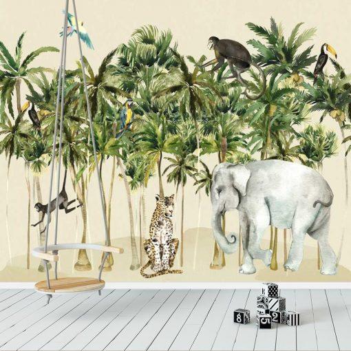tapeta ze słoniem i małpkami