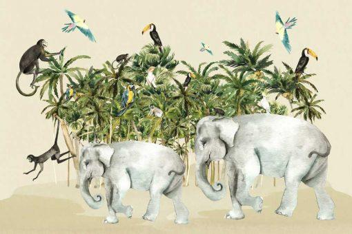 zwierzęta i dżungla na fototapecie dziecięcej
