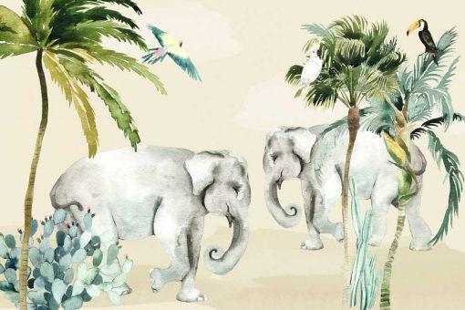 Wesoły las tropikalny - fototapeta do pokoju dziecinnego