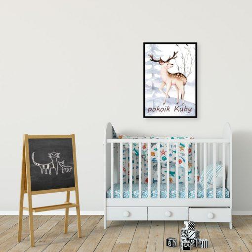 beżowy jelonek na plakacie do pokoju dziecka