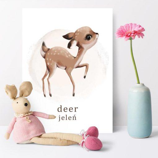 Plakat z jeleniem do przedszkola