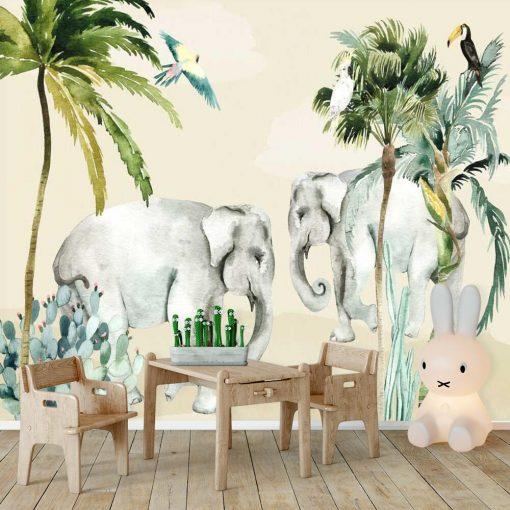 radosne słonie na fototapecie do pokoju dziecięcego