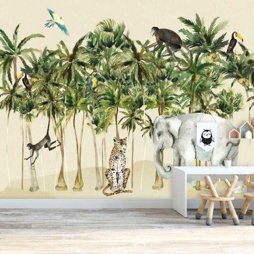 kolorowe zwierzęta na dziecięcej tapecie z tropikalnym lasem
