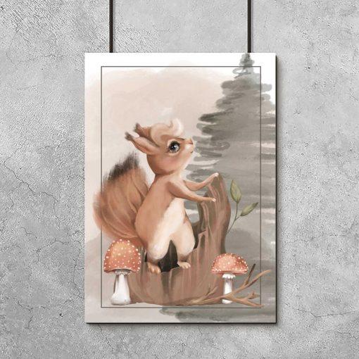 Plakat z wiewiórką na pniu dla dzieci