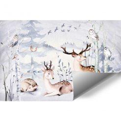 las i zwierzęta na fototapecie dla dziewczynki