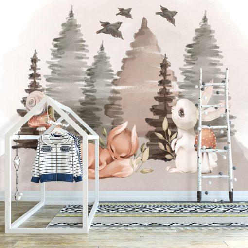 Fototapeta boho do pokoiku dziecięcego - Zwierzęta