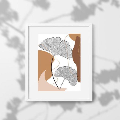 Plakat z listkami na tle abstrakcji