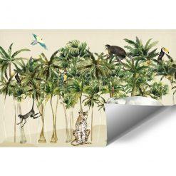 dziecinny pokój dekorowany egzotyczną fototapetą