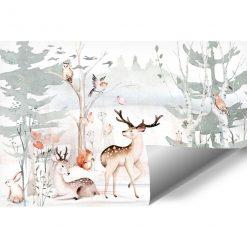 pastelowa fototapeta z leśnymi zwierzętami dla niemowlaka