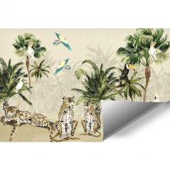 palmy i ptaki na fototapecie dla dzieci