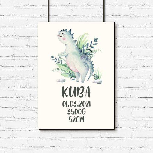 Plakat metryczka z motywem dinozaura dla dziecka