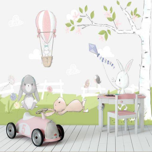 dziecięca fototapeta - króliczek z fioletowym latawcem w kropki