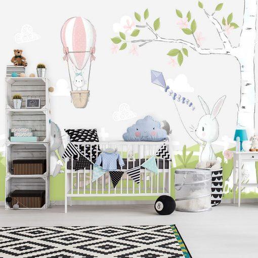 fototapeta do pokoju dziecięcego - łąka pełna królików