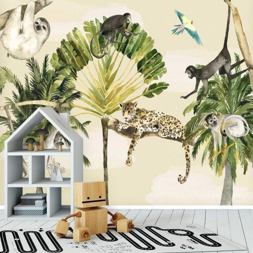 wesołe małpki w zielonej dżungli - fototapeta dla dzieci