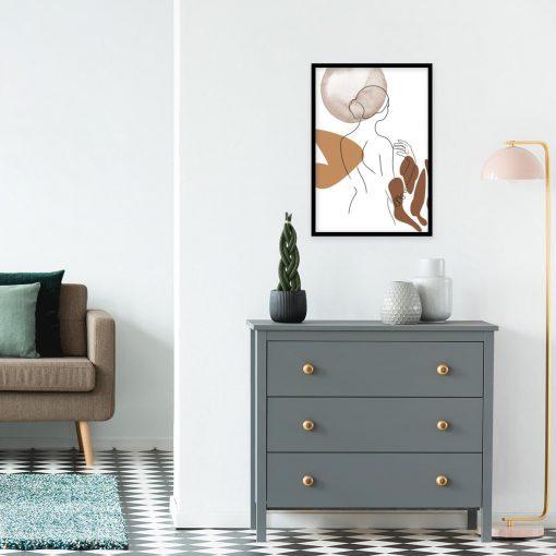 minimalistyczny plakat abstrakcyjny w brązach
