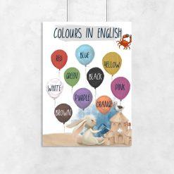 Baloniki i kolory - Wielobarwny plakat dla dzieci