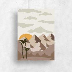 Plakat z zachodem słońca nad oazą