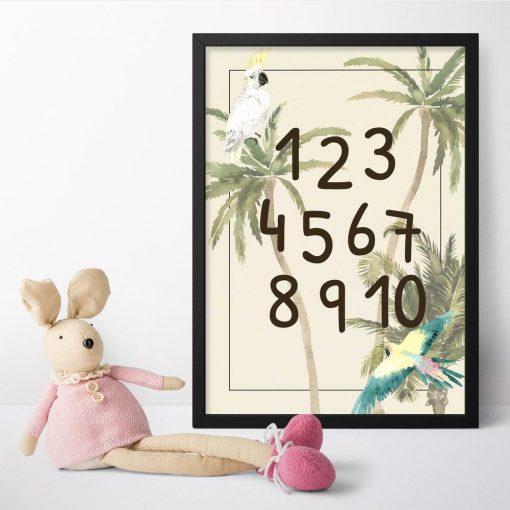 egzotyczna roślinność - plakat z cyferkami dla dzieci