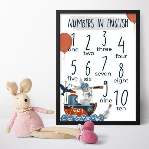 Królik z lunetą - dydaktyczny plakat dla dzieci
