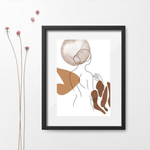 naga kobieta na minimalistycznym plakacie do salonu