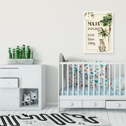 metryczka z gepardem w formie plakatu nad łóżeczko