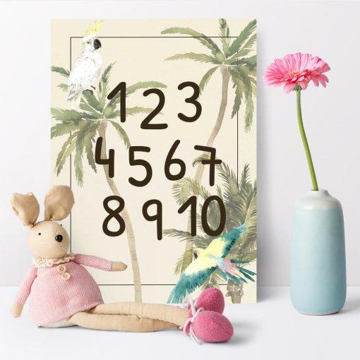 zielone palmy i kolorowa papuga - plakat do pokoju dziewczynki
