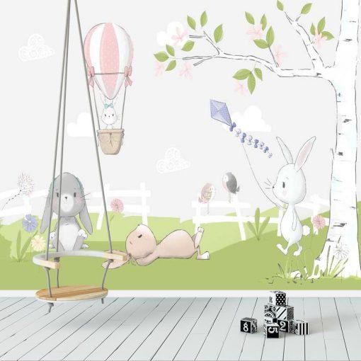 wiosenne drzewko i ptaszka na fototapecie dla dzieci