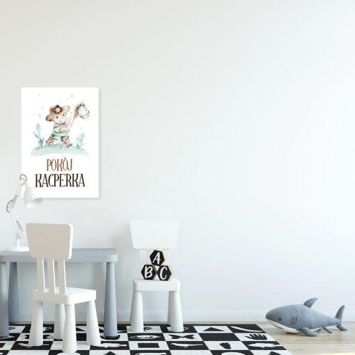 Miętowy plakat imienny do pokoju przedszkolaka