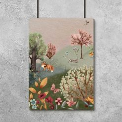 Barwny plakat dla dziewczynki - Kwietna łąka