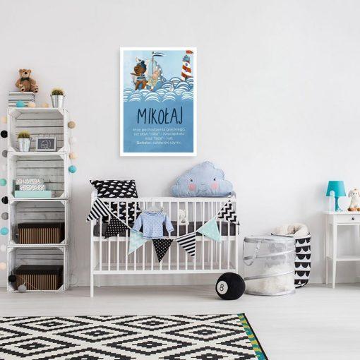 Plakat dla dzieci z imieniem - Morska przygoda