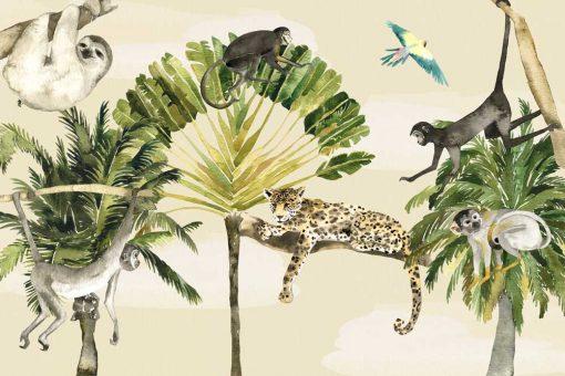 zielone palmy - fototapeta do pokoju dziecka
