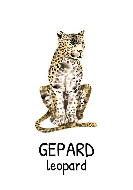 nietypowy plakat z gepardem do dekoracji pokoju dziecinnego