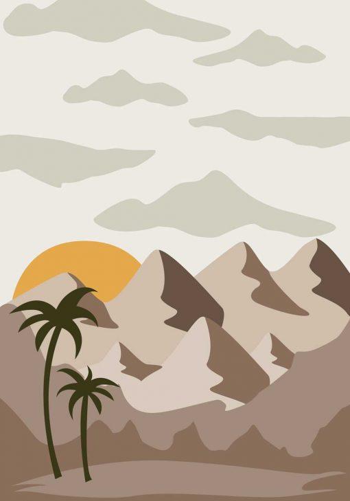 Plakat słońce, góry i palmy