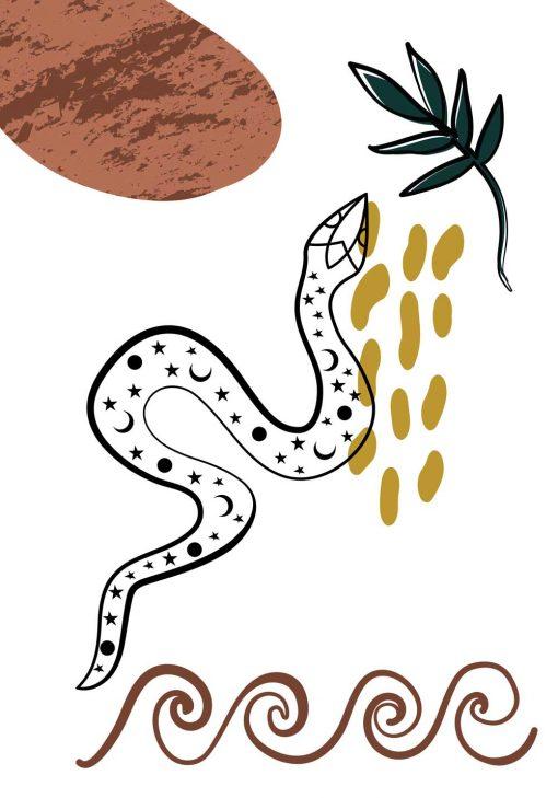 Plakat z motywem węża i ornamentem
