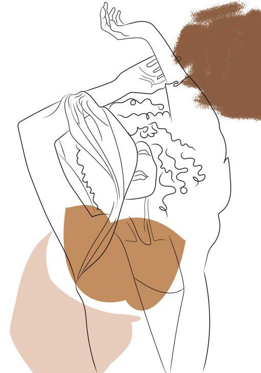 Beżowy plakat line art z motywem kobiety