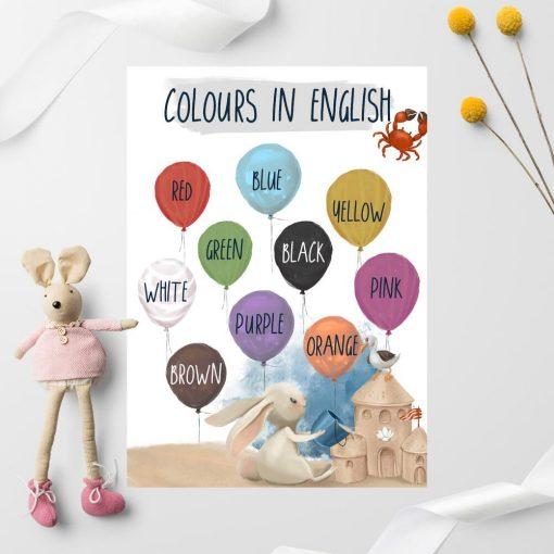 Baloniki i kolory - Plakat nad łóżeczko dziecko