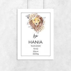 Plakat z metryczką i znakiem zodiaku dla dziewczynki