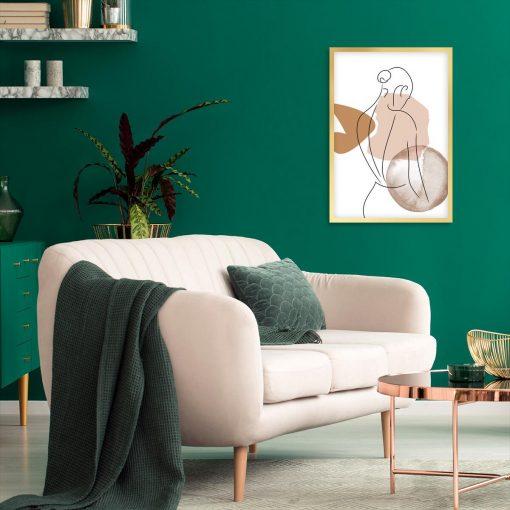 Plakat do dekoracji kobiecych wnętrz - Dziewczyna line art