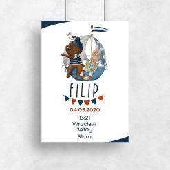 Niebieski Plakat - Metryczka dla chłopca z motywem marynistycznym