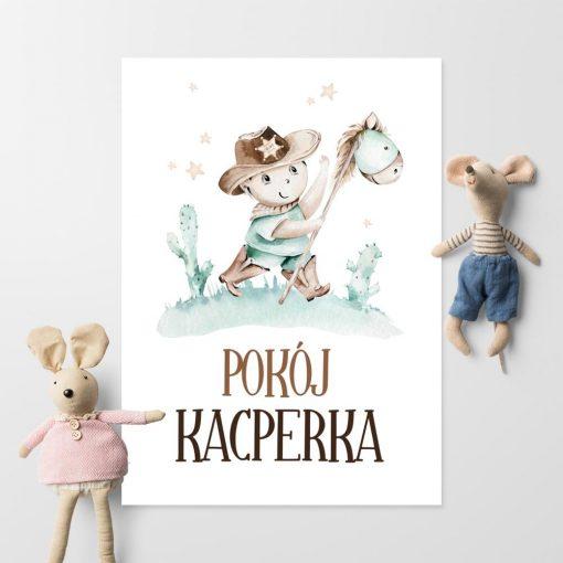 Personalizowany plakat w kolorze miętowym do pokoju dziecinnego
