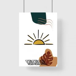 Plakat ze słońcem, liściem monstery i ormanetem